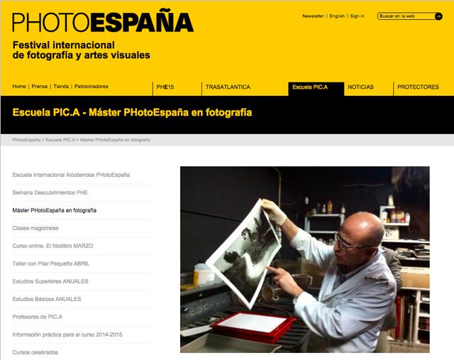 23-26 MARZO 2015. MÁSTER PHOTOESPAÑA EN FOTOGRAFÍA. MÓDULO MULTIMEDIA.