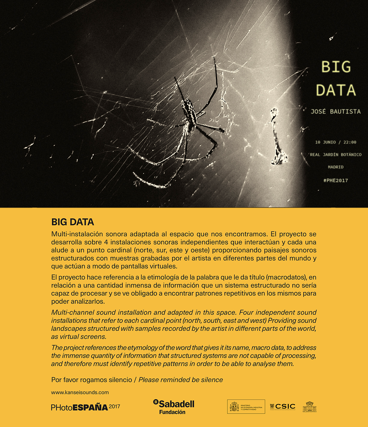 BIG DATA sound installation at PhotoEspaña 2017 festival. 10th June, Real Jardin Botanico – Madrid, Spain.