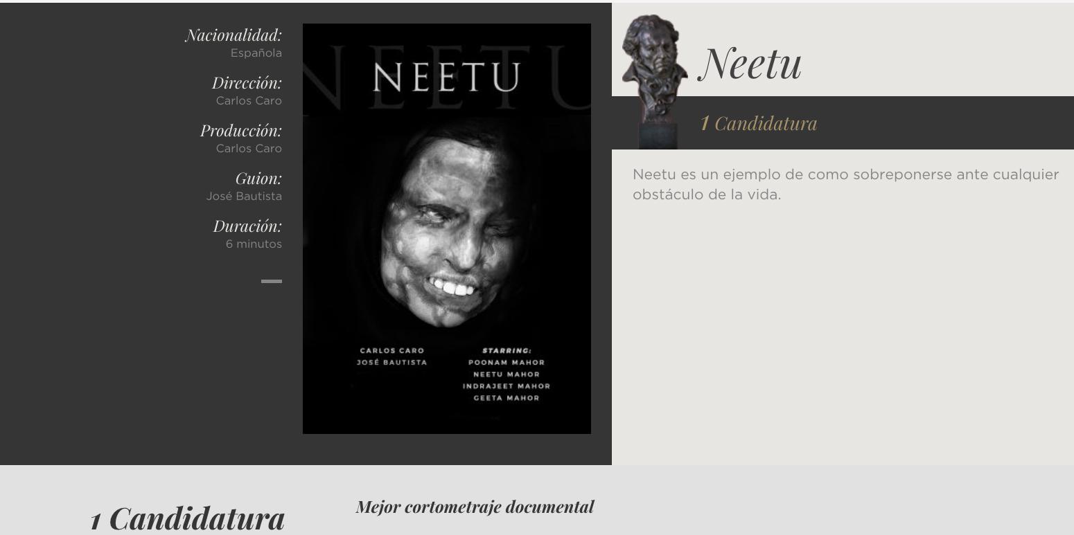 Neetu, candidata a los Goya 2020